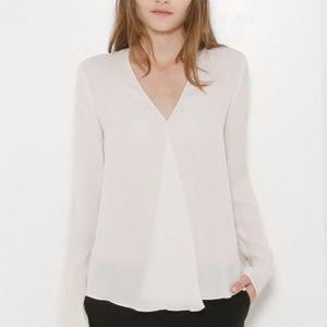 Theory meniph v neck long sleeve silk blouse